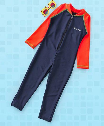 Rovars Full Sleeves Legged Swimsuit - Navy Blue Orange