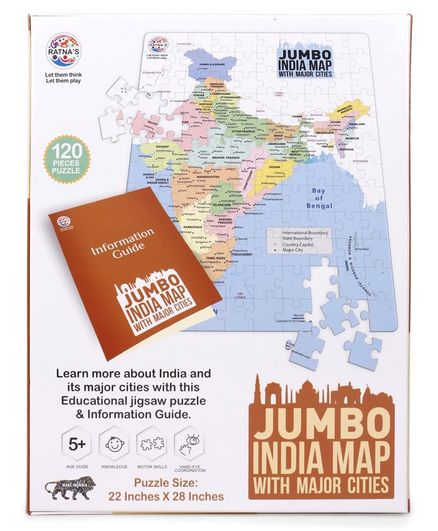 India Map Puzzle.Ratnas Jumbo India Jigsaw Map Puzzle Multicolour 120 Pieces