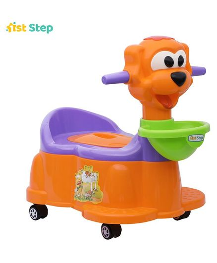1st Step Baby Potty Chair With Wheels - Orange