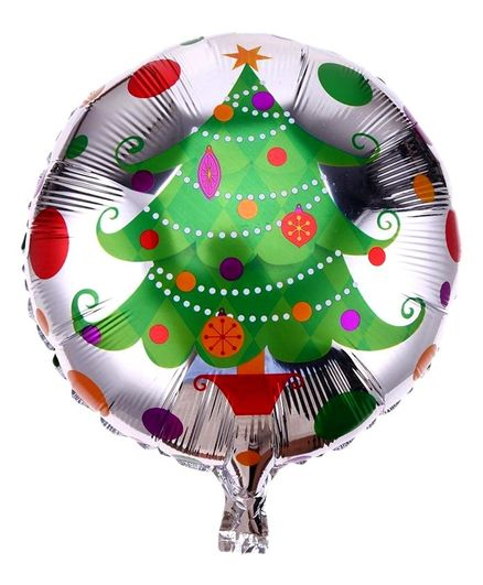 Funcart Christmas Tree Printed Foil Balloon - Green Silver