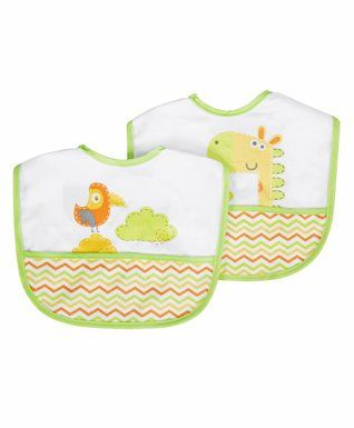 Mee Mee Animal Printed Bibs With Crumb Catcher Pack of 2 - Green