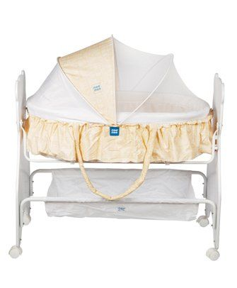 Mee Mee Baby Cradle With Swing And Mosquito Net - Yellow
