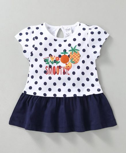 Simply Short Sleeves Polka Dotted Frock With Fruit Patch - Navy Blue