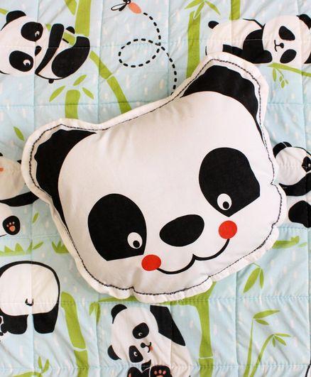 Silverlinen Panda Village Shape Cushion - White