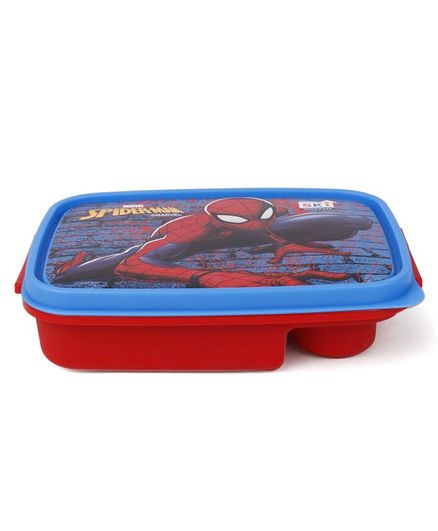 Marvel Spider Man Lunch Box With Fork Spoon - Red Blue