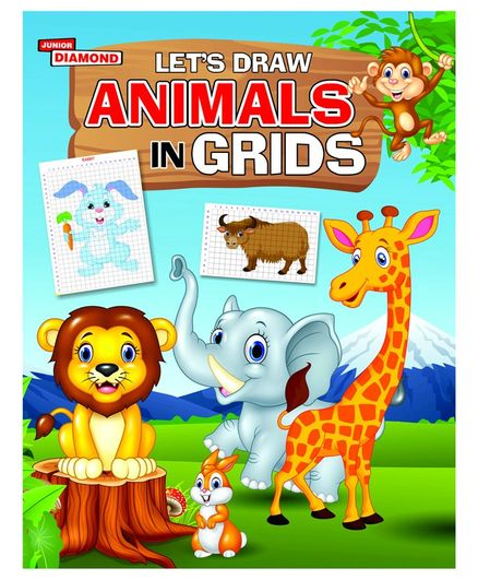Lets Draw Animals In Grids Book - English