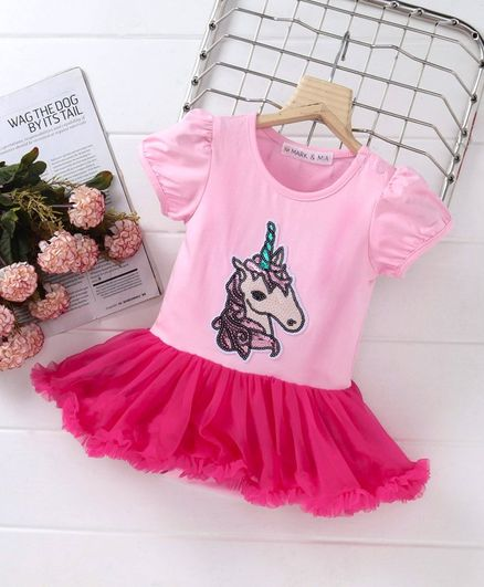 Mark & Mia Party Wear Frock Style Onesie Unicorn Patch - Pink