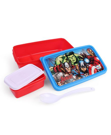 Marvel Avengers Lunch Box With Fork Spoon - Blue Red