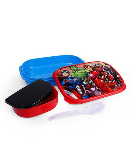 Marvel Avengers Lunch Box With Spoon - Blue Red