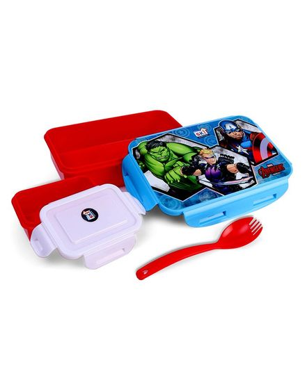 Marvel Avengers Lunch Box With Clip Lock Feature - Blue Red
