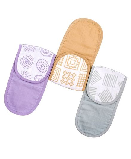 Kaarpas Premium Organic Cotton Muslin Burp Wash Cloth with Charming Patterns of Lines Circles & Squares Pack of 3 - Sage Green Pastel Purple Beige