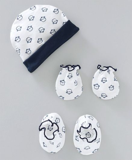 Ben Benny Cap Mitten & Booties Set Monkey Print - White