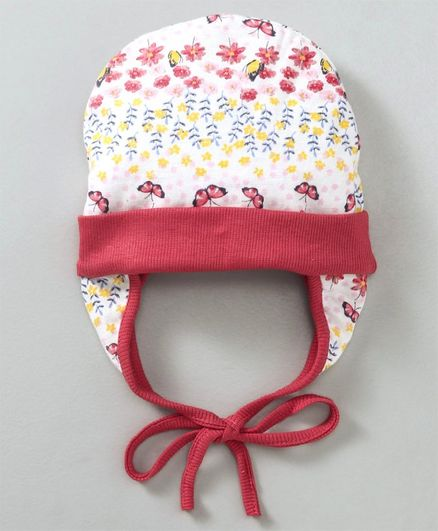 Ben Benny Cap With Ear Flaps Floral & Butterfly Print - Off White Red
