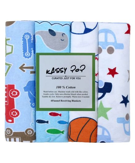 Kassy Pop Cotton Flannel Baby Blankets Pack of 4 - Blue White