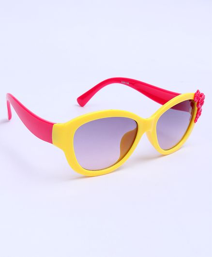 Babyhug Sunglasses Floral Design - Red & Yellow