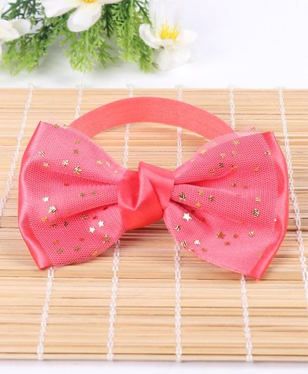 Babyhug Headband Star Printed Bow Applique - Pink