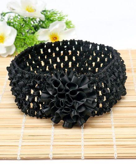 Babyhug Headband Ruffle Flower Applique - Black