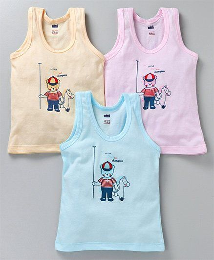 Simply Sleeveless Vests Bear Print Pack of 3 - Blue Pink Yellow