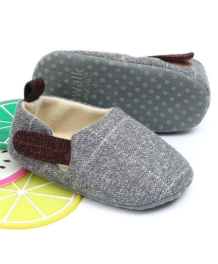 Cute Walk by Babyhug Booties With Velcro Closure - Grey