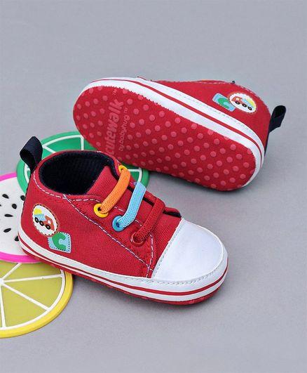 Cute Walk By Babyhug Slip on Booties - Red