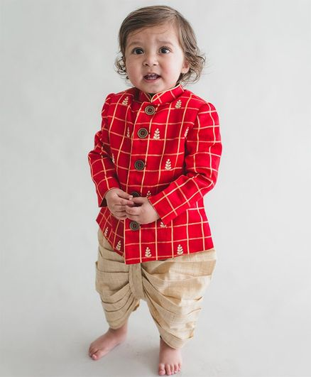 Tiber Taber Check Design Embroidered Full Sleeves Kurta & Dhoti Set - Red & Beige