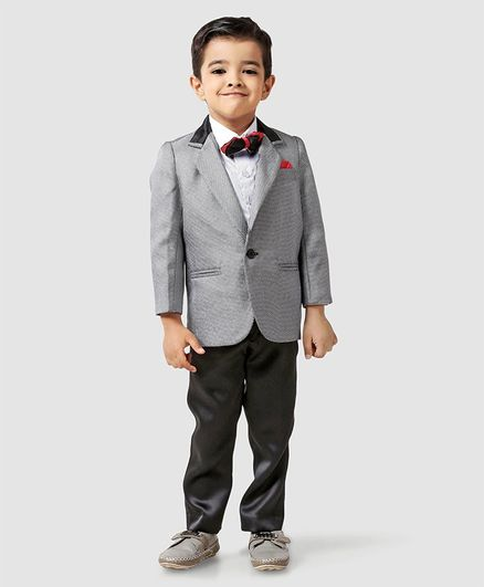 Babyhug Full Sleeves Three Piece Party Suit With Bow - Grey