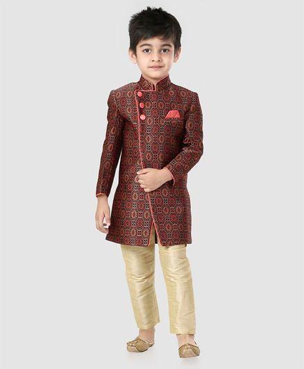 Babyhug Full Sleeves Self Design Sherwani  With Jodhpuri Breeched - Red
