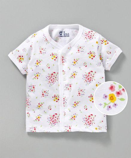 Pink Rabbit Half Sleeves Cotton Vest Floral Print - White