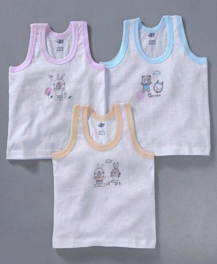Zero Sleeveless Vest Bunny & Bear Print Pack of 3 - Orange Blue Pink