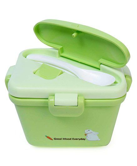 Lunch Box With Spoon And Fork Bunny Print - Green