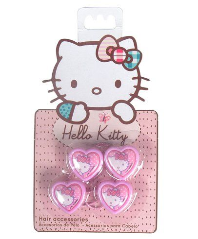 3f04c158de9 Hello Kitty Rubber Bands Heart Design Pack of 4 Pink for Girls (2-12 ...