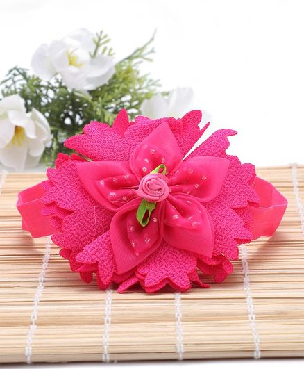 Babyhug Headband Floral Applique - Dark Pink