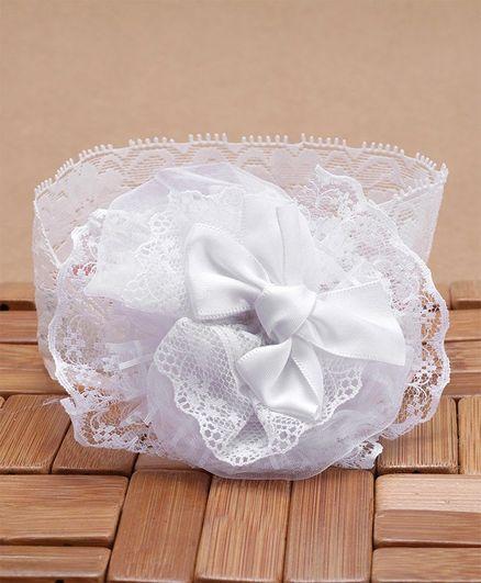 Babyhug Lace Headband Bow Applique - White