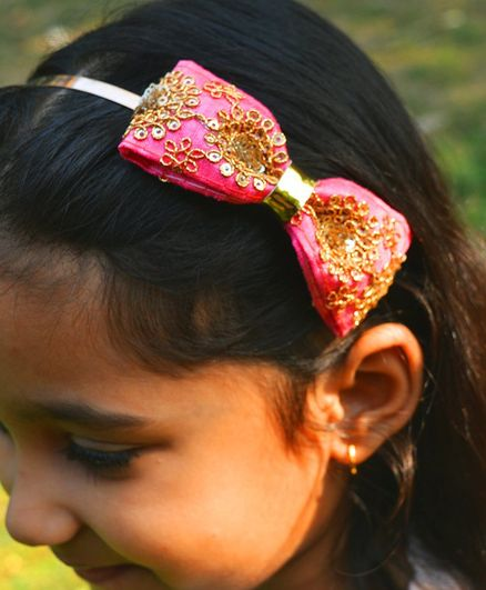 Little Tresses Embellished Bow Applique Hairband - Pink