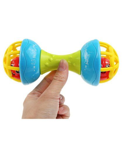 Curtis Toys Dumbbell Rattle Teether - Blue Green