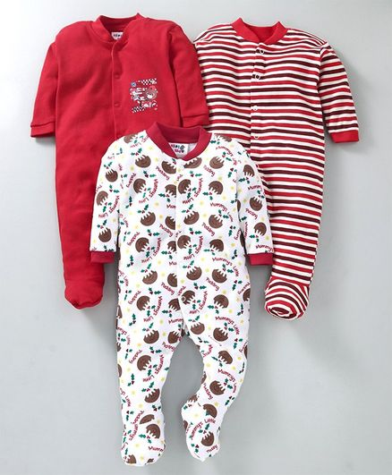 Kidi Wav Full Sleeves Multi Print Pack Of 3 Sleep Suits - Red