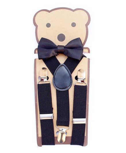 Kidofash Solid Suspenders With Bow Tie Set - Black