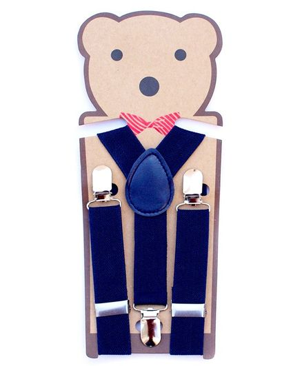 Kidofash Solid Suspenders - Blue