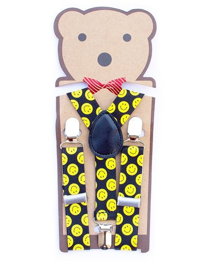 Kidofash Smiley Printed Suspenders - Yellow