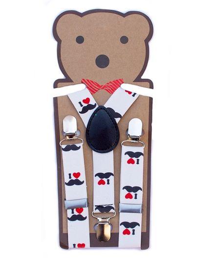 Kidofash I Love Moustache Print Suspenders - White