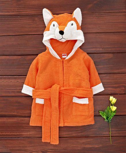 Babyhug Cotton Full Sleeves Hooded Bath Robe Fox Design - Orange