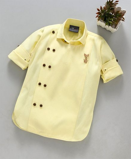 b2cd3f471b9 Dapper Dudes Brooch Detailed Full Sleeves Micro Printed Kurta - Light Yellow