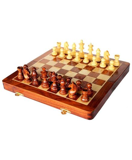 Webby Folding Magnetic Wooden Chess Board - Brown