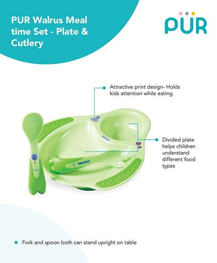 Pur Walrus Plate & Cutlery Meal Time Set - Green