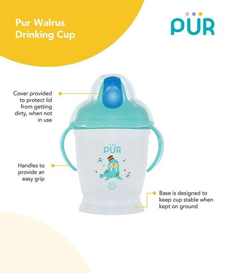 Pur Twin Handle Drinking Cup Walrus Print Blue - 250 ml