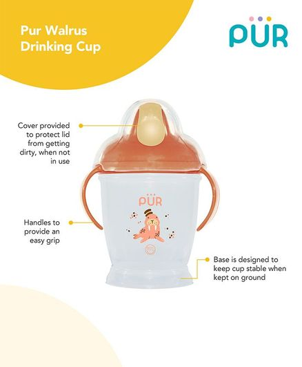 Pur Twin Handle Drinking Cup Walrus Print Orange - 250 ml