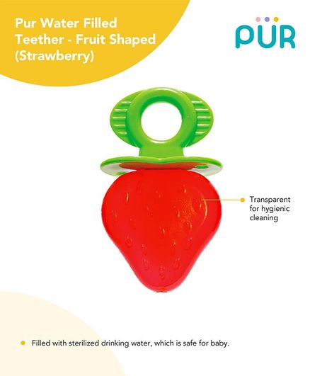 Pur Strawberry Shaped Water Filled Teether - Red