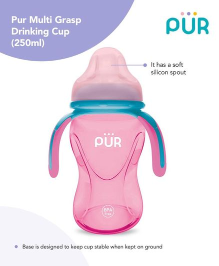 Pur Multi Grasp Twin Handle Sipper Cup Pink Blue - 250 ml