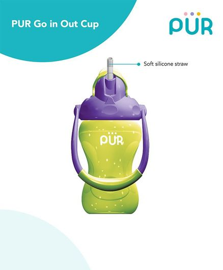 Pur Goin Out Sipper Cup Green & Violet - 250 ml
