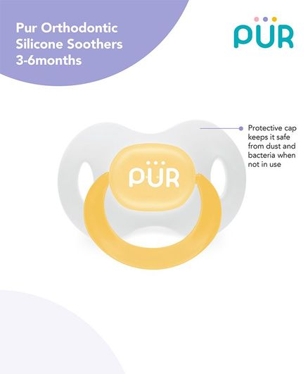 Pur Orthodontic Silicone Soother - Yellow